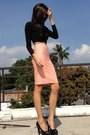 Peach-h-m-skirt-black-cotton-paperbag-vintage-top-black-janilyn-pumps