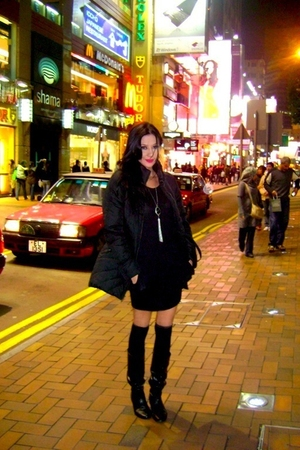 black Forgot jacket - black forgot as well boots - black mint dress - What Women