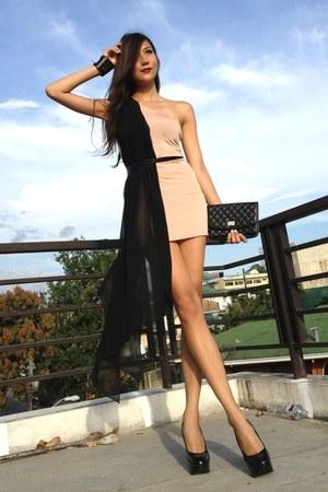 black random bag - tan my brand dress - black janilyn pumps