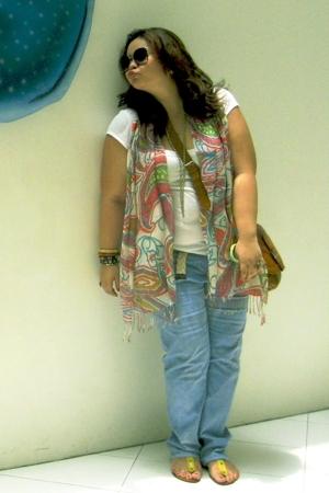 yellow Cole Vintage shoes - white Dorothy Perkins shirt - blue DIY pants