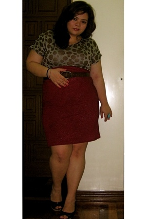 Parisian shoes - brown Dorothy Perkins belt - red diy skirt - brown The First to
