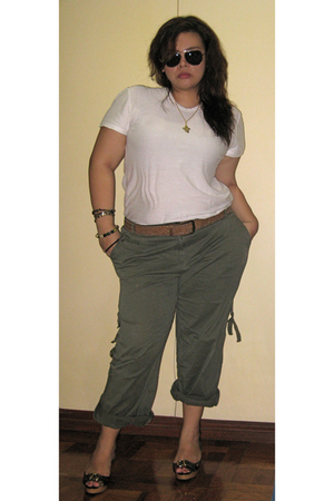 white Cerutti 1881 shirt - green Galleria Dept Store pants - brown Dorothy Perki