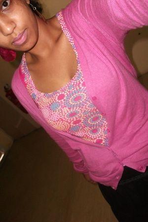 pink Zara cardigan - pink street market top - black Thrift Store skirt - silver