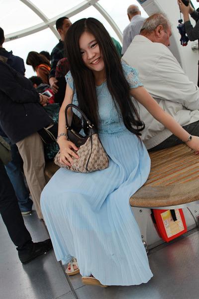 light blue YRBfashion dress - tan Gucci bag