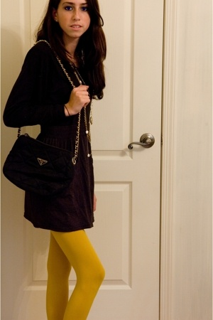 American Apparel shirt - American Apparel skirt - Betsey Johnson tights - Prada