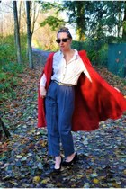 vintage cape - Ray Ban sunglasses - Urban Outfitters blouse - Aldo heels