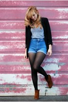 vintage shorts - GoJane shoes - thrift blazer - Aritzia shirt