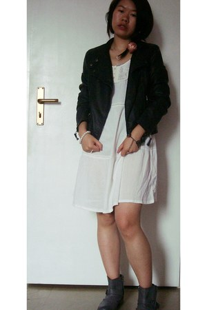 gray boots - white dress - black faux leather jacket