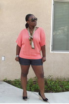 coral crochet 89th and madison top - navy dark boom boom jeans shorts