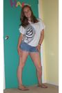 White-forever-21-shirt-blue-pacsun-shorts-brown-rainbows-shoes