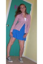 blue Forever 21 dress - pink Billabong top - silver Drugstore accessories - gray