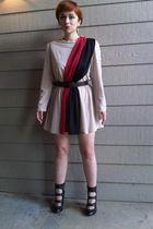 beige colorblock dress dress - brown Target belt - RoseGold shoes