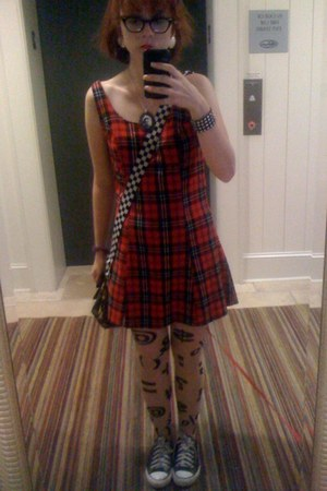 shoes Converse shoes - plaid Betsey Johnson dress - crazy tights American Appare