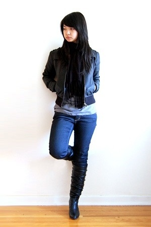 zipia jacket - zipia t-shirt - H&M jeans - H&M scarf - zipia boots
