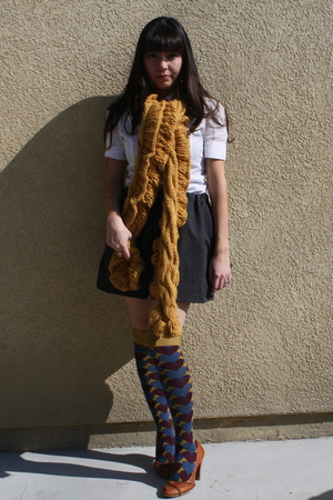 gold Anthropologie scarf - brown seychelles shoes - purple Anthropologie socks