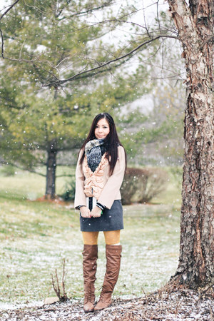 Ruche boots - JCrew coat - free people scarf - JCrew skirt