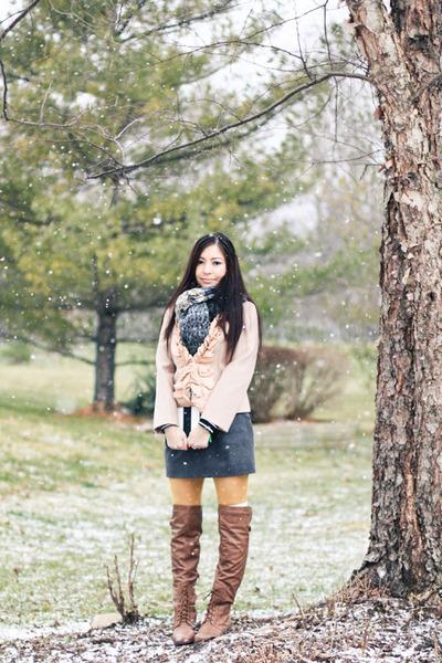 Ruche boots - JCrew coat - free people scarf - JCrew skirt
