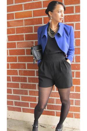 calvin klein blazer - TJ Max bag - Thrift Store heels - Topshop romper - Target