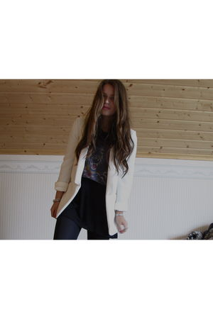 white Forever New blazer - purple Topshop shirt - black H&M dress - black GINA T