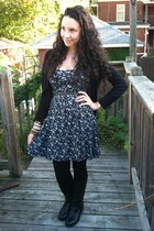 navy floral Forever 21 dress - black riding Nine West boots