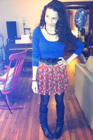 ruby red pleated Forever 21 skirt - black Nine West boots - black Wet Seal belt
