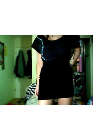 black Forever21 skirt - blue Forever21 shirt - white necklace