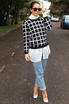 American Apparel shirt - Topshop jeans - choiescom jumper - Boohoo heels