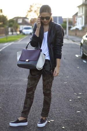 black Topshop jacket - SoInFashion jeans - asos flats - ivory Topshop t-shirt