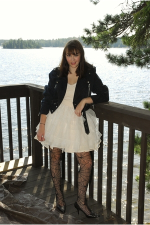 Value Village jacket - H&amp;M dress - H&amp;M tights - franco sarto shoes