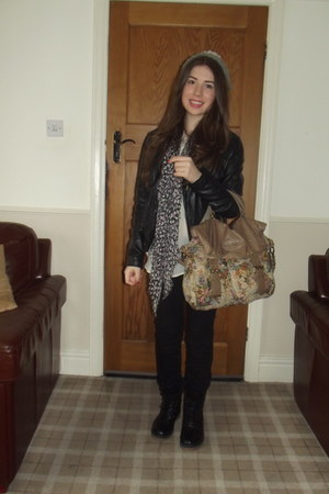 leather jacket Miss Selfridge jacket - River Island boots