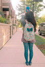 Teal-f21-tights-silver-gilligan-shirt-aquamarine-target-bag