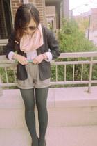 black thrifted blazer - off white Target shirt - peach thrifted scarf