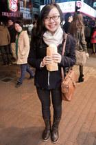 leather Tiffany boots - denim 21Denim jeans - wool simple blazer - scarf