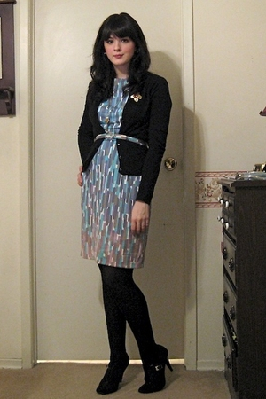blue vintage from etsy dress - black Bluenotes cardigan - blue same as dress bel