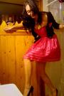 Pink-betsey-johnson-dress-black-betsey-johnson-sweater-black-aldo-shoes