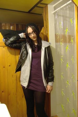 purple American Apparel dress - black Only jacket - black H&M leggings