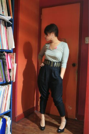 brown Natori top - black Luxury Trap pants - black boutique shoes