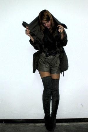 Zara boots - Misako belt - shorts - pull&bear coat