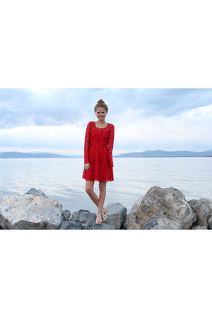 ruby red lace handmade dress - neutral platform Soel Boutique wedges