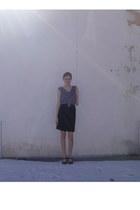 black corduroy handmade skirt - floral chiffon Forever 21 blouse