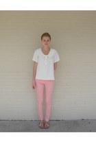 off white homemade blouse - light pink skinny Flying Monkey jeans