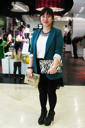 Forever 21 blazer - Jeffrey Campbell boots - bag - lace skirt