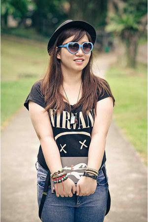 Topshop jeans - fedora Uniqlo hat - sunglasses - nirvana shirt H&M t-shirt