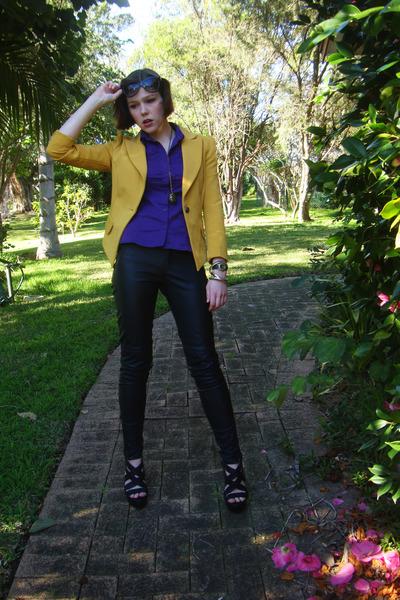 purple Cue blouse - pleather Sportsgirl pants - strappy rubi wedges