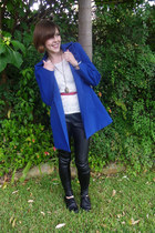 blue Mystique coat - faux leather subtitled pants
