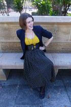 vintage skirt skirt - navy Navy Blazer blazer - mustard Mustard Crop Top top