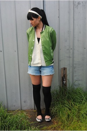black Sportsgirl socks - green jacket - blue ripped denim Valleygirl shorts