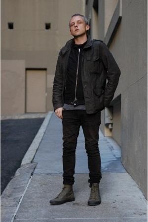 no brand jacket - hare vest - American Apparel t-shirt - Helmut Lang jeans - com