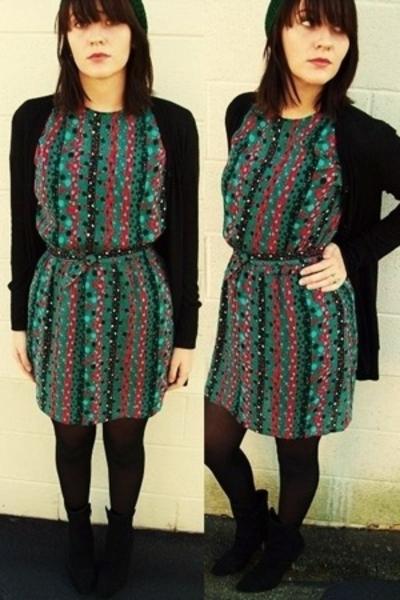 taurus ii dress - Rue 21 sweater - joey boots - hat