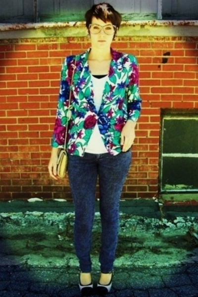 purple floral vintage stringbean blazer - white Rue 21 shoes